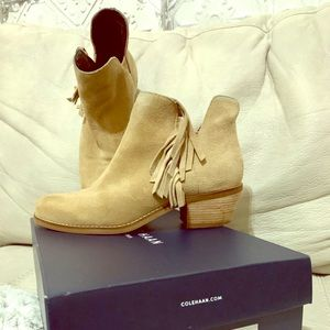 Cole Haan Abbot fringe suede booties size 8